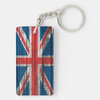 Den brittiska flagga med grovt Wood korn verkställ