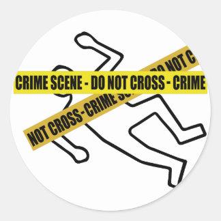 Den brotts- platsen tejpar runt klistermärke
