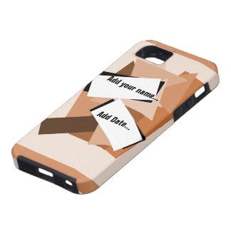 Den bruna beigen kvadrerar & telefonen för tough iPhone 5 fodral