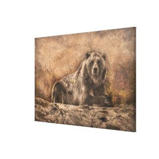 Den bruna björnen på stenen canvastryck