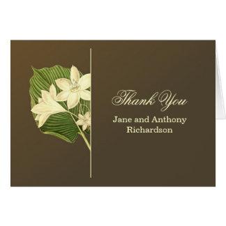 den bruna eleganten tackar dig bröllopkort hälsningskort