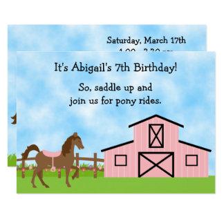Den bruna hästen, den rosa ladugårdponnyn rider 12,7 x 17,8 cm inbjudningskort