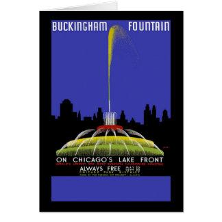 Den Buckingham fontänen på Chicago sjön beklär Hälsningskort