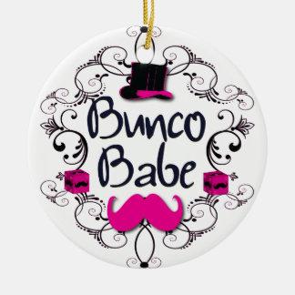 Den Bunco baben med virvlar runt, mustaschen och Rund Julgransprydnad I Keramik