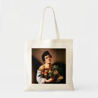 Den Caravaggio pojken med en basket av frukttoto Tygkasse