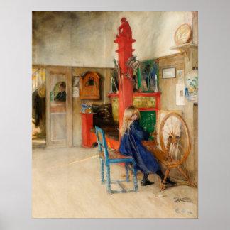 Den Carl Larsson flickan med snurr rullar Poster