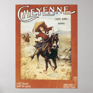 Den Cheyenne vintagesongbooken täcker Poster