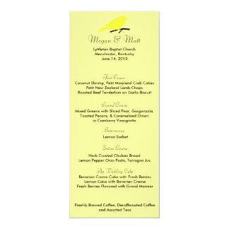 Den chic fågelsilhouetten & pricker menykortet i 10,2 x 23,5 cm inbjudningskort