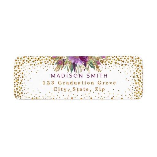 Den chic glittervattenfärgen blommar guld- returadress etikett