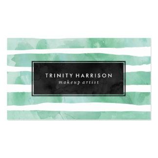 Den chic Mintgröntvattenfärgen görar randig den | Set Av Standard Visitkort