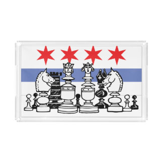 Den Chicago flagga & schacket stiger ombord Bricka