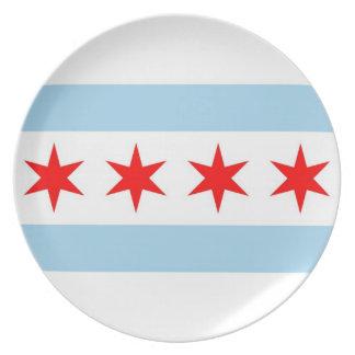 Den Chicago flagga, statliga Illinois pläterar Tallrik