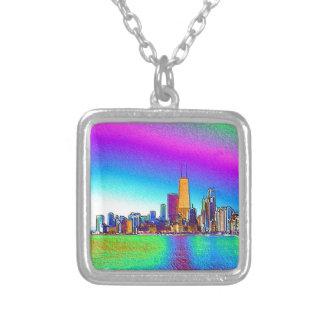Den Chicago horisonten i kulört omkullkastar Silverpläterat Halsband