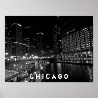 Den Chicago Illinois natten beskådar svart & vit Poster