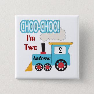 Den Choo Choo tågfödelsedagen knäppas Standard Kanpp Fyrkantig 5.1 Cm
