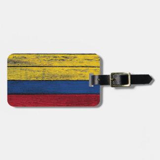 Den colombianska flagga med grovt Wood korn verkst Bagage Lapp