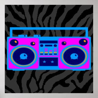 Den Corey tiger80-tal Retro Boombox radiosände Affischer
