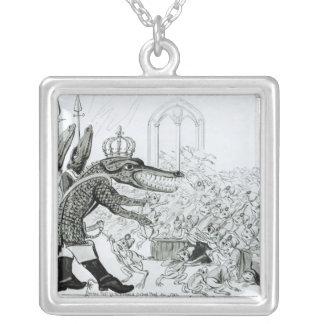Den Corsican krokodilen Silverpläterat Halsband