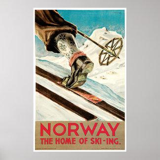 Den crossa country vintagenorgen skidar affischen poster