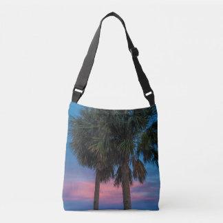 Den crossbody solnedgången och palmträd hänger lös axelväska