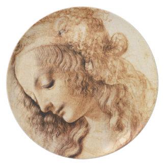 Den Da Vinci kvinna huvud pläterar Tallrik