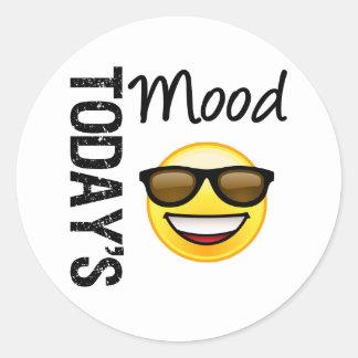 Den dagens MoodEmoticoncoolan med skuggar Runda Klistermärken