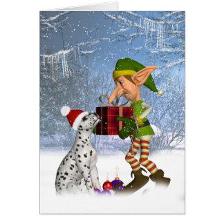 den dalmatian valpen med älvan Julhälsningar Hälsningskort