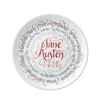 Den dekorativa väggen pläterar - Jane Austen Porslinstallrik
