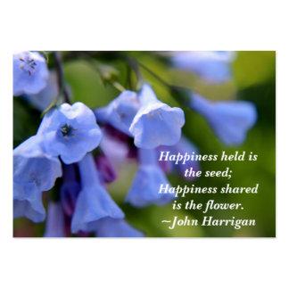 Den delade lyckan är blommavisitkorten set av breda visitkort