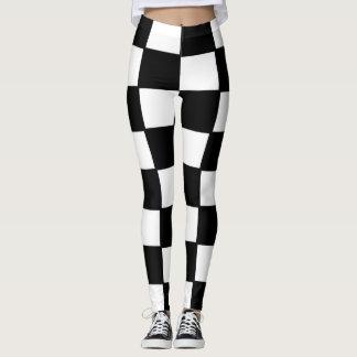 Den designade Damasker, kvadrerar, svartvitt Leggings