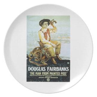 Den Douglas Fairbanks manen från målat postar 1917 Tallrik