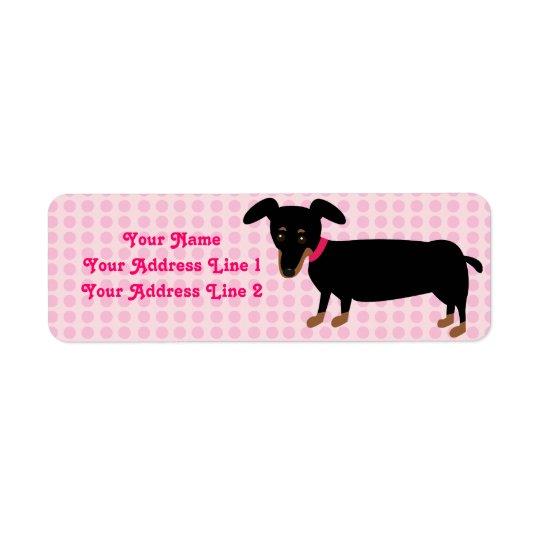 Den Doxie flickan med rosor pricker bakgrund Returadress Etikett