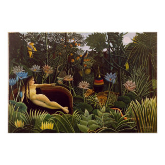 Den dröm- Henri Rousseau djungeln blommar målning Poster