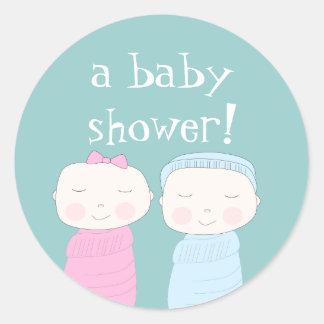 Den dubbla glädjen! Tvilling- baby shower Runt Klistermärke