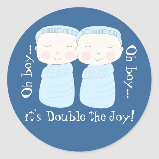 Den dubbla glädjen! Tvilling- pojkar Runda Klistermärken