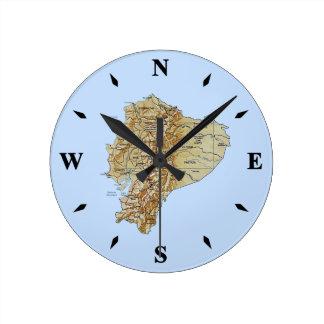Den Ecuador kartan tar tid på Rund Klocka