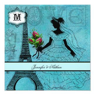 Den Eiffel tornbruden kvadrerar bröllopinbjudan Fyrkantigt 13,3 Cm Inbjudningskort