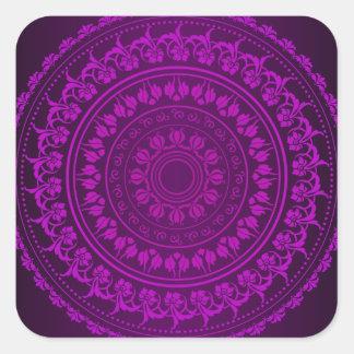 Den eleganta flott purpurfärgade blommigten fyrkantigt klistermärke