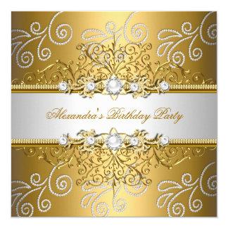 Den eleganta guld- silversnörediamanten överdrar fyrkantigt 13,3 cm inbjudningskort