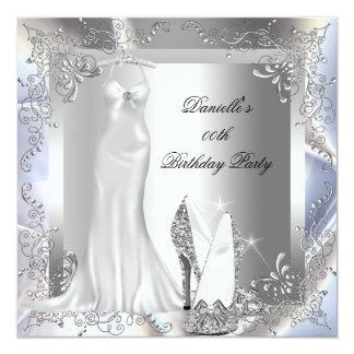 Den eleganta hälet för silvervitkicken skor fyrkantigt 13,3 cm inbjudningskort