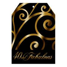 Den eleganta krumeluren virvlar runt svart guld 12,7 x 17,8 cm inbjudningskort