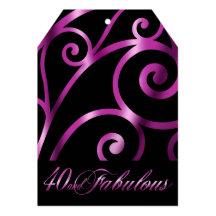 Den eleganta krumeluren virvlar runt svart lilor 12,7 x 17,8 cm inbjudningskort
