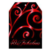 Den eleganta krumeluren virvlar runt svart rött 12,7 x 17,8 cm inbjudningskort