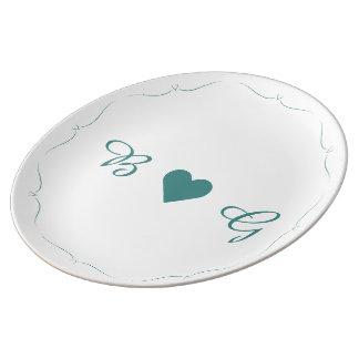 Den eleganta monogramen för krickabröllophjärta porslinstallrik