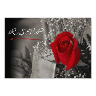 Den eleganta röd ros bleknar ut svartvit OSA 8,9 X 12,7 Cm Inbjudningskort