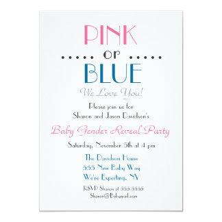 Den eleganta rosa- eller blåttgender avslöjer 12,7 x 17,8 cm inbjudningskort
