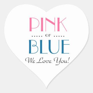 Den eleganta rosa- eller blåttgender avslöjer hjärtformat klistermärke