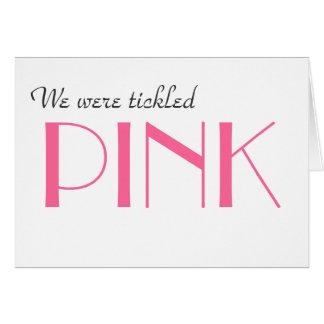 Den eleganta rosa gender avslöjer tackkortet OBS kort