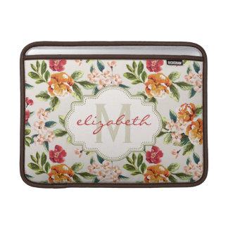 Den eleganta vintagevattenfärgen blommar MacBook sleeve