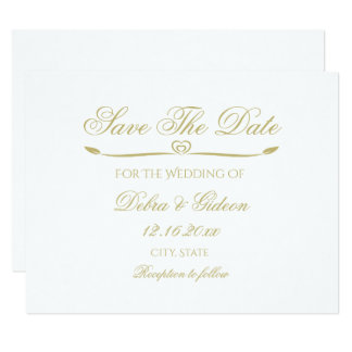 Den eleganta vit- och guldmonogramen sparar datera 10,8 x 14 cm inbjudningskort